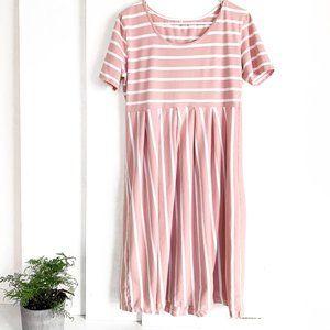 short sleeve midi dress pink + white stripe XL